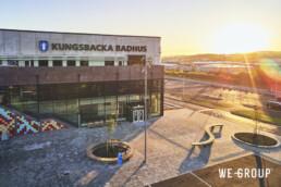 We Group Kungsbacka Badhus Exteriör fasad gryning